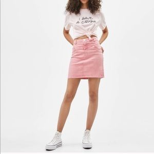 Bershka 1980s Vintage Style Pink Denim Mini Skirt